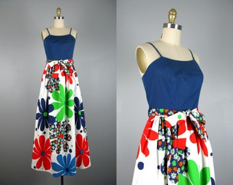 Vintage 1960s Cotton Floral Maxi Dress 60s Bold Flower Power Summer Dress by Leland of California Size S