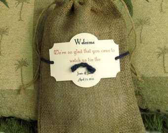 10 Burlap Wedding Welcome bags - 8 X 12 - Personalized - Tie the knot - Destination wedding
