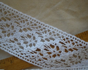 "Bright White Crochet Cotton Lace trim 2 1/4"" wide true White edging insert embellish retro choose yardage cluny hippie boho floral"