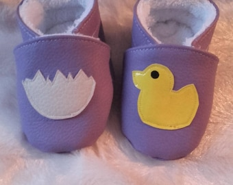 """Return of the henhouse"" baby booties size 3-6 months"