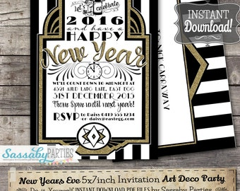 New Years Eve Party Invitation - INSTANT DOWNLOAD - Editable & Printable Gatsby, Art Deco, 1920s, Party Invite by Sassaby Parties