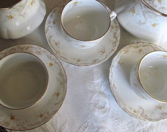 SALE Antique 1800's Set Of 2 Victorian Yellow Roses Tea Cups And Saucers For Display Was 18.99 Now 14.99