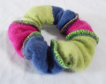 Bright Hair Scrunchie, Cashmere Scrunchie, Striped Scrunchy, Soft Hair Elastic, Hairband, Ponytail Holder, Upcycled Recycled, Eco Friendly