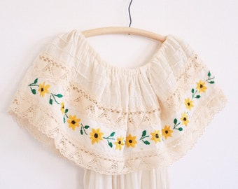Mexican Embroidered Dress // Vintage Gauze Crochet Ruffle Yellow Flowers Ethnic Bohemian
