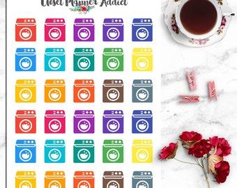 Washing Machine Laundry Icons Planner Stickers (I-026)