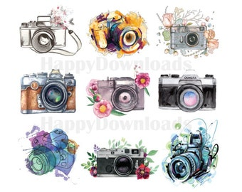 18 Pack Camera DSLR Photography Photographer Painted PNG Transparent Clipart Overlay Digital Download