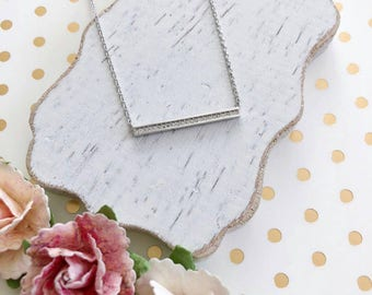 Silver Crystal Bar Dainty Necklace