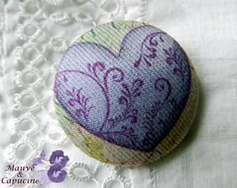 Fabric Button, Purple Heart, 0.78 in / 20 mm