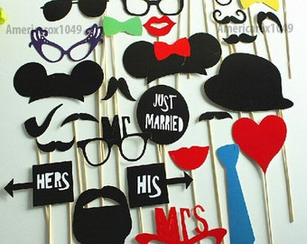 Disney Wedding Photo Booth Props - Mickey Mouse 32 Piece Set Mustache On a Stick - Wedding Party Props - Mickey Mouse Disney Minnie Mouse