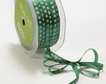 Green Satin Ribbon with White Stars (5 yards) . 1/4 Inch