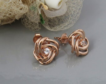 Rose Gold Knot Earrings, Rose Knot Studs, Knot Jewelry, Knot Jewellery, Love Knot Earrings, 925 Gold vermeil Knot Stud Earrings