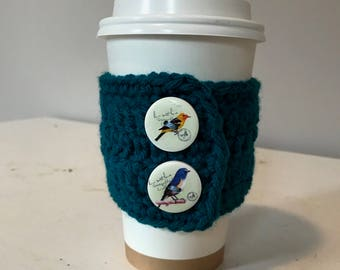 Crochet Coffee Cozy Sleeve with Aviary Buttons
