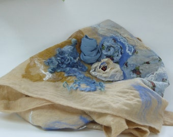 Wool scarf with roses, cream with light sky blue and walnut brown, handmade Nuno felt, wool and silk, handgevilt, unique big scarf,