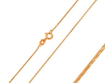 0.8mm 925 Sterling Silver Snake Chain Necklace / Rose Gold Plated made in italy(PLRSNK08RP)