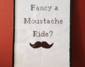 CLEARANCE!! CrossStitch Framed Moustache Ride