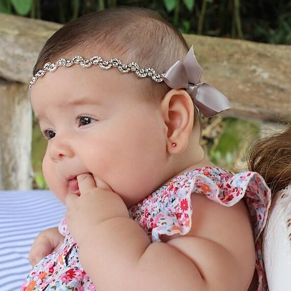 Headbands For Babies, Infant Headbands, Newborn Headband, Silver Baby Headband, Silver Halo Headband, Silver Headband
