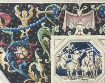 Antique watercolour - fresco old Master - grand tour  - renaissance ornament - painting