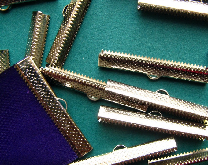 10 pieces  40mm or 1 9/16 inch Silver Ribbon Clamp End Crimps