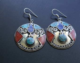 Nepali Tibetan Earring, Big round earrings, ethnic look earrings,, long ethnic earrings, big boho earrings, big round stone earring, rustic