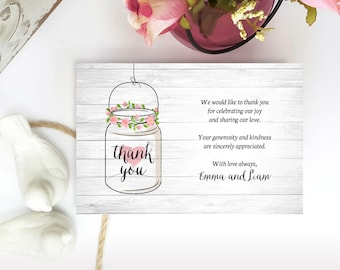 Printed Thank you notes   Mason jar Thank you cards for wedding, bridal shower, engagement   Cheap thank you notes for woodsy rustic wedding