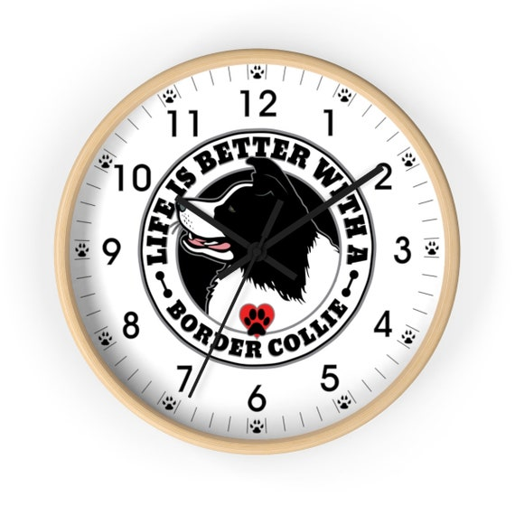 Border Collie Dog Wall Clock 10 Inch Large Wooden Great Gift for Dog Lovers