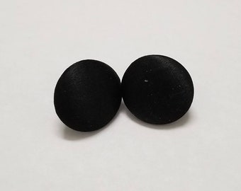 Vintage Black Fabric Button Earrings