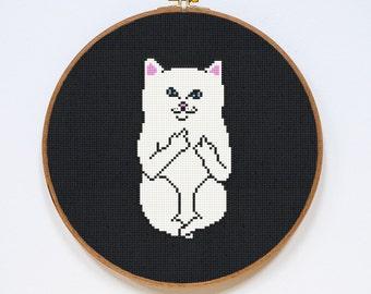 Cat Cross Stitch Pattern, Modern Cross Stitch Chart, Pdf Format, Instant Download