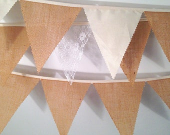 Hessian Bunting with a choice Ivory or and Lace Calico  perfect finishing touch to weddings Baby Showers Choose your own length from 1 meter