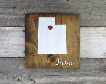 "Rustic Hand Painted ""Home State"" Wood Sign, Utah State Home, Home State Pride - 9.25""x9.25"" All States Available"