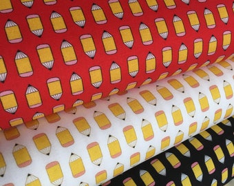 Fabric by the Yard, Pencil fabric, Novely fabric, Teacher gift, Suzie's Minis fabric bundle of 3, Choose the Cut