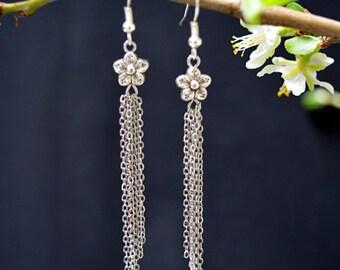 Flower tassel dangle earrings silver