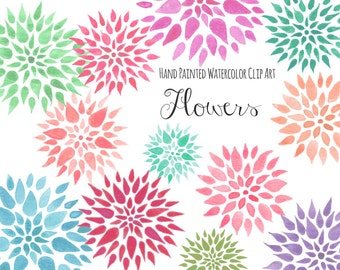 "Clip art: ""FLOWERS""  handpainted, 12 clipart 300 dpi PNG  files (5197)"