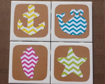 Chevron Beach Coasters - Starfish, Whale, Anchor and Seashell
