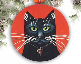Black Cat Ornament, Halloween Ornament, Handmade Christmas Ornament, Black Cat Art Christmas Gift, Cat Lover Gift
