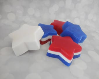 Star Soap - Fourth of July Soap - American Soap - Patriotic Soap - Red White and Blue Soap - Glycerin Soap - Independence Day Guest Soap