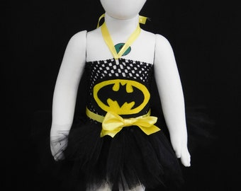 Batman Superhero inspired Tutu - Costume-Outfit-Girls- Baby-Holiday - Crochet Top-Strapless - Hand Made