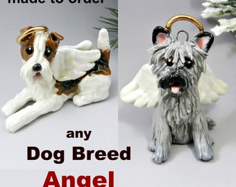Dog Breed Angel Christmas Ornament Figurine Cake Topper Made to Order Porcelain