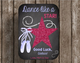 50% OFF SALE - Ballerina - Printable Card - Instant Download - Chalkboard - Recital - Dance - Star