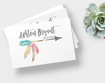 Watercolor Antlers Logo Peony Flower Logo Feather Floral Antlers Premade Logo Design Rustic Photography Logo , Photography Logo, watermark