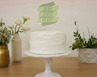 Wedding Cake Topper - Custom Ribbon
