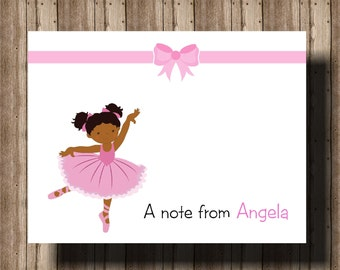 PERSONALIZED NOTECARDS Ballerina/African American Girl Ballerina/Boxed Set OF 10 Folded Notecards for Girls/Ballerina Thank You Cards