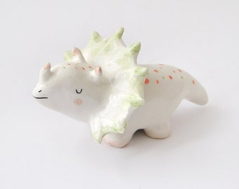 Triceratops Figure, Triceratops Figurine; Ceramic Dinosaur, with Orange and Green Polka Dots; Jurassic Clay Collection. Ready To Ship