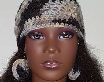 Rockies Crochet Skullcap Beanie and Earrings by Razonda Lee Razondalee