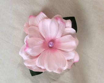 Tropical, Princess, Bridal, Pink Silk Flower hair clip
