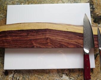 "Magnetic knife holder Kingwood - Rosewood 18"" Natural Edge, magnetic knife rack, inc mounting hardware handmade"