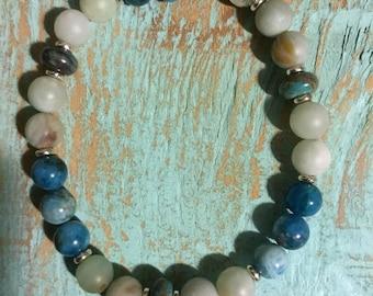 Cancun Beach- beaded gemstone bracelet
