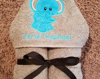 Personalized Turquoise & Grey Elephant Hooded Towel