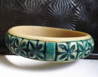 Vintage Art Deco carved celluloid bangle bracelet floral panel jade green over dyed stocking stuffer gift for her 1920s 1930s