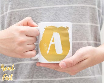 Monogram mug, Personalized mug, Gold foil mug, Initial mug, Birthday gift, Unique coffee mug, Kitchen decor, Gift of Love, FMfp003G