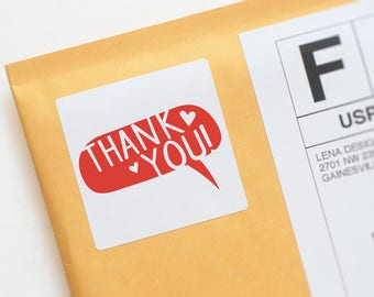Printed Thank You Sticker - Packaging Sticker - Snail Mail Stickers - Product Packaging - Happy Mail Stickers - Favor Stickers Thank You